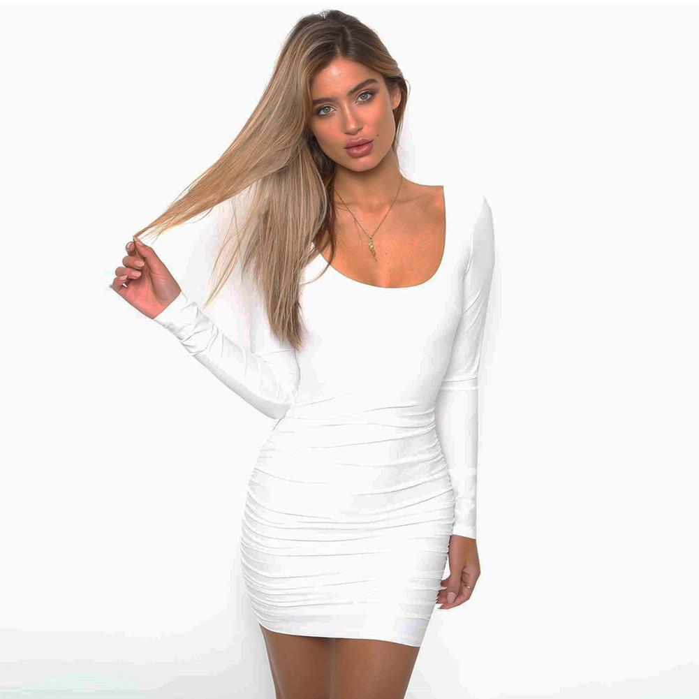 d4948d8aea3 Compre Mujeres Sexy Bodycon Mini Vestido Escote Redondo Manga Larga Plisado  Lápiz Vestido Sin Espalda Acanalada Fiesta Clubwear Vestido Negro   Blanco  ...