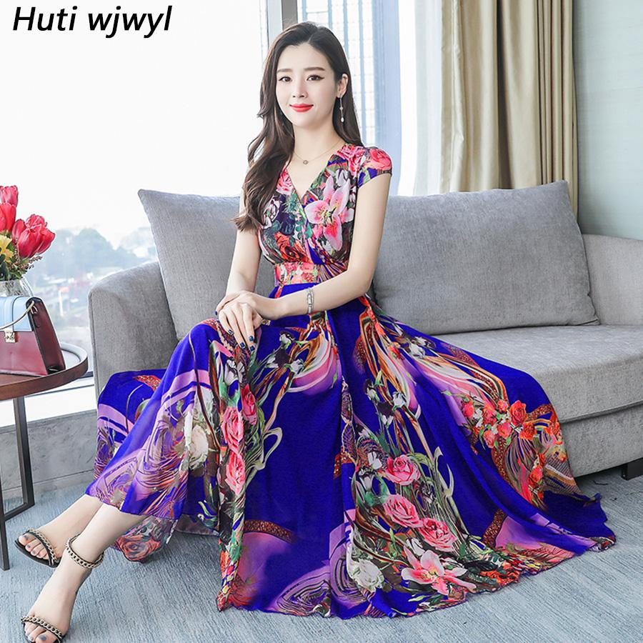 de7e47a6c3ca7 Elegant Women Bodycon Party Vestidos Beach Vacation Plus Size Midi Summer  Dresses 2019 Vintage Floral Chiffon Boho Maxi Sundress