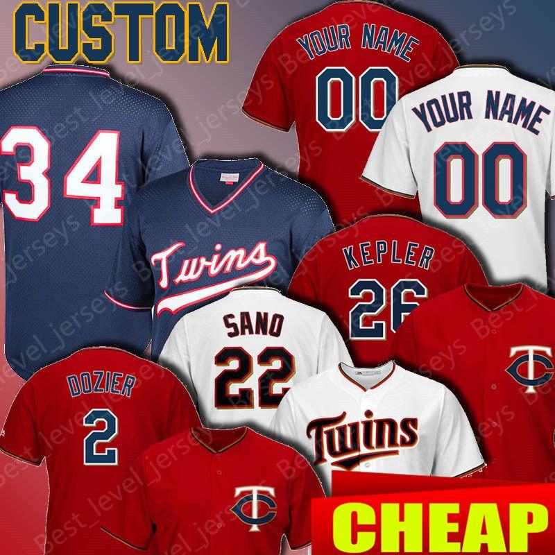 679591e93d8 2019 Custom Twins Jerseys 22 Miguel Sano 2 Brian Dozier 34 Kirby ...