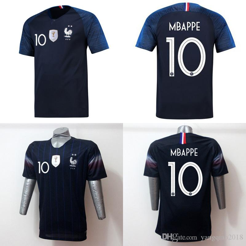 0f025608906 New 2019 2 Stars MBAPPE Soccer Jersey Men 2018 World Cup GRIEZMANN ...
