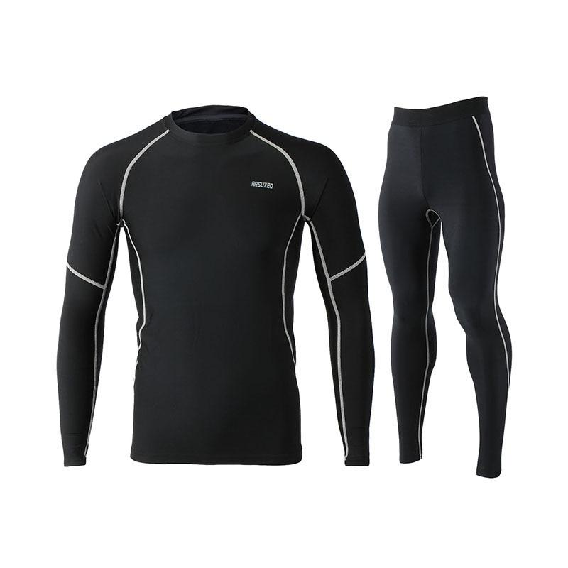Winter Thermal Fleece Running Set for Men Jogging Suit Long Sleeve Cycling Base Layers Gym Sports Clothes Training Sportswear
