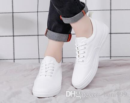 a2975bfe09e Fashion Newest High Quality Men White Canvas Shoes Height Increasing Casual  Shoes Men Sneakers Lace Up Student Shoes Geox Shoes Cheap Shoes For Women  From ...