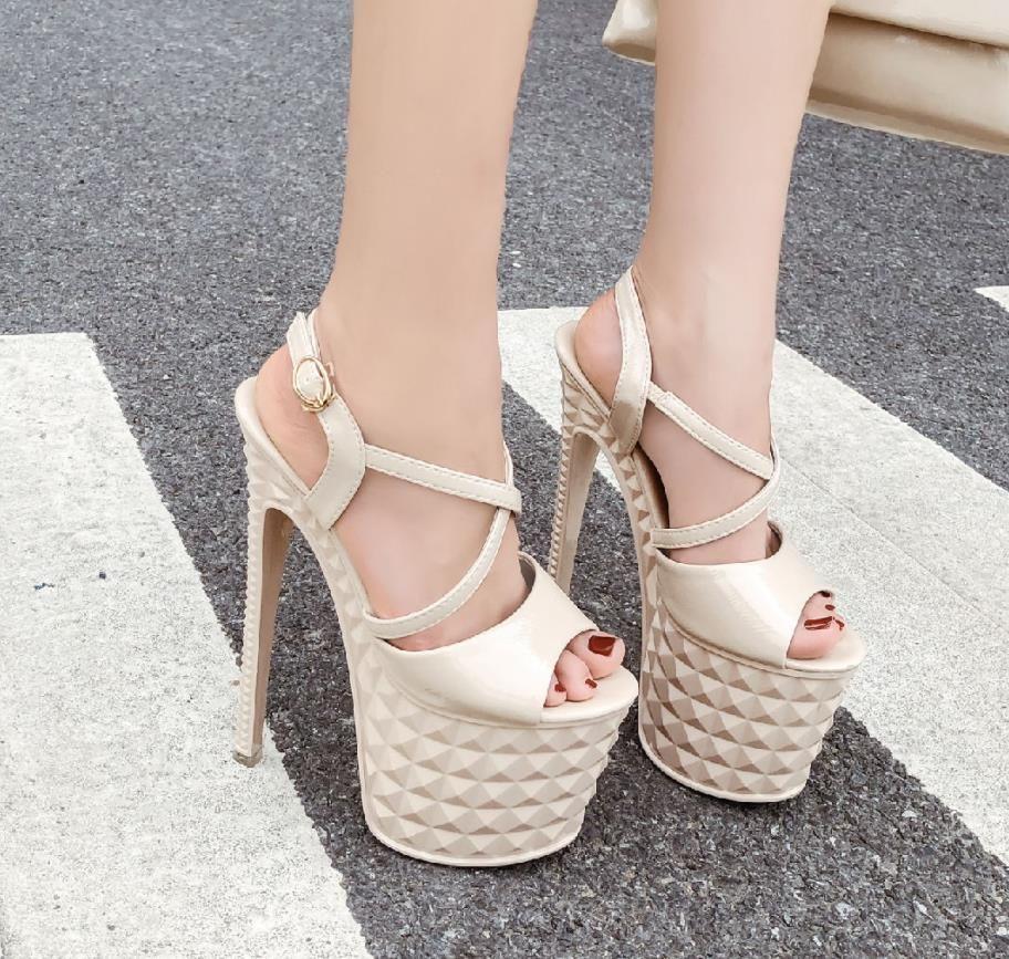 Roman style party queen ankle strap wedding pumps bridal shoes 19cm party queen super high heel platform shoes dress shoes size 35 to 39