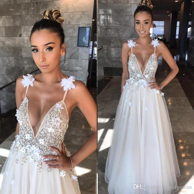 Berta 2019 Sexy Backless Beach Wedding Dresses Spaghetti Straps Beaded Hand Made Flowers Long Bohemian Boho Bridal Gowns Wedding Dress