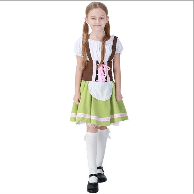 Child Purim The Munich Oktoberfest Costume Cosplay Germany Bavarian Beer Maid Waiter Carnival Halloween Fancy Party