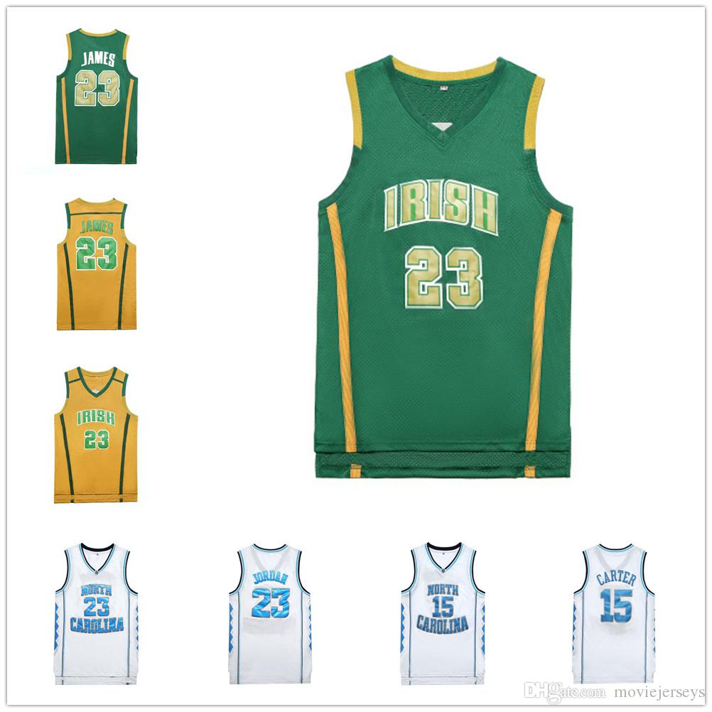 NCAA North Carolina Tar Heels 23 # Basketball Maillots 15 charretier mens irlandais 23 James haute shirt de basket-ball shcool