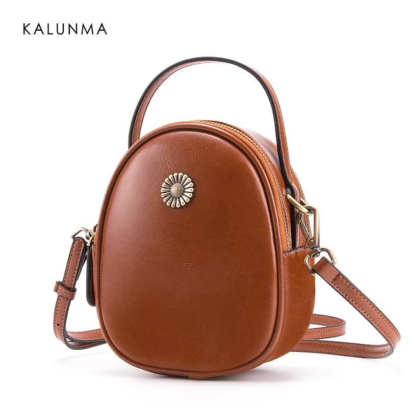 3b88ac5965fc KalunMa Hot sale 2018 Vintage Style Women s Genuine Leather Messenger Bags  Shoulder Bag High Quality&Freeshipping KLM6327