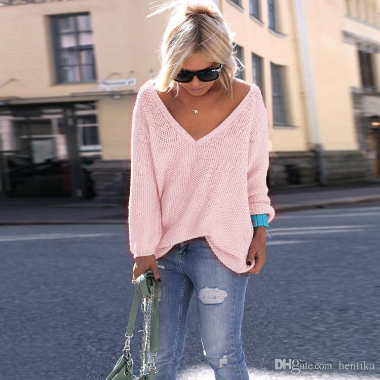 fa2ec2a035f378 2019 Fashion V Neck Sweaters Blending Loose Full Sleeve Sexy Pullover S 4XL Plus  Size Women Wear Casual Sweater From Hentika, $16.62 | DHgate.Com