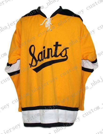 Custom Minnesota Fighting Saints Retro Hockey Jersey New Yellow Personalized stitch any number any name Mens Hockey Jersey XS-5XL