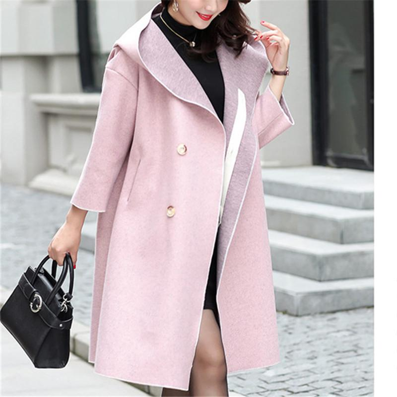 150f4abb37b41 Plus Size Woman Coats Winter Long Wool Coat 2018 Vintage Elegant Fashion  Korean Style Pink Ladies Coats Wool   Blends Cheap Wool   Blends Plus Size  Woman ...