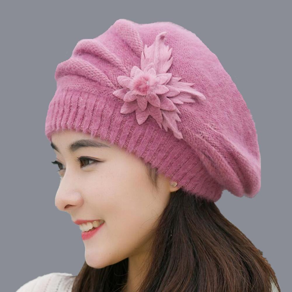 5ba077214e7 2018 winter rabbit fur Ski Cap hat female Beanie with one pieces flowers  winter wool Cap for ladies Hot sale clothing set S18120302