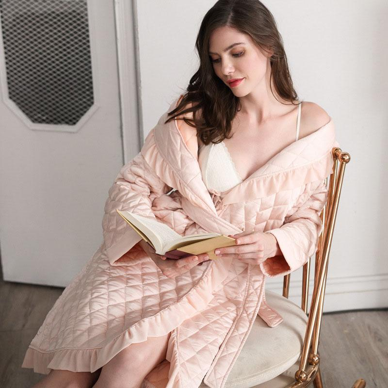 0edc7c0ba3 Bath Robe Women Winter Cotton quilted Women's Bathrobe Nightgown Kimono  solid color Dressing Gown Sleepwear Female Home Clothes