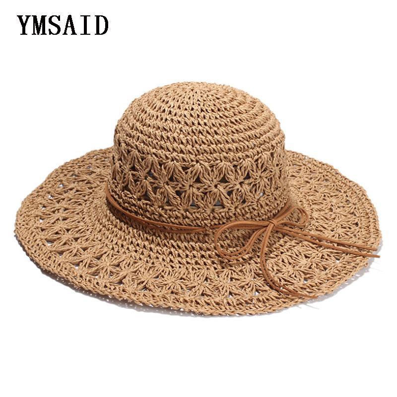 Compre 2018 Band Nueva Crochet Hollow Dome De La Mujer Sombreros De Verano  Para Las Mujeres Malla Sombrero De Paja Sombrero De Sol Plegable Sombrero  De ... 92e96dae215