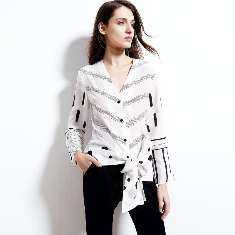 9b23c0bf436fdb 2019 Silk Blouse 2019 Spring Autumn New Temperament V Neck Striped Printed  Silk Tops Bow Tie Long Sleeved Shirt From Melinayaoyao, $12.4 | DHgate.Com