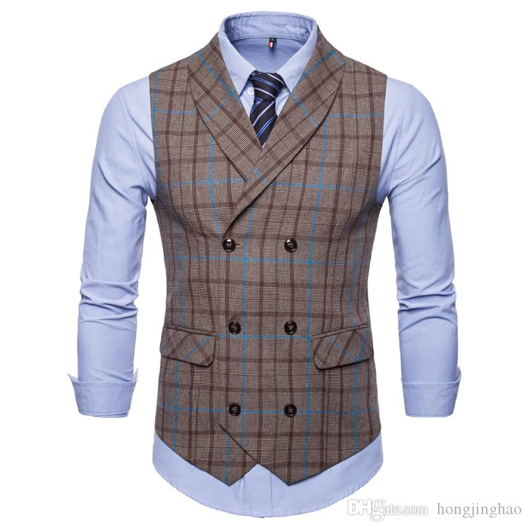 Groom Gilet Groomsmens Best Man Gilet Custom Made in plaid di colore e perizoma