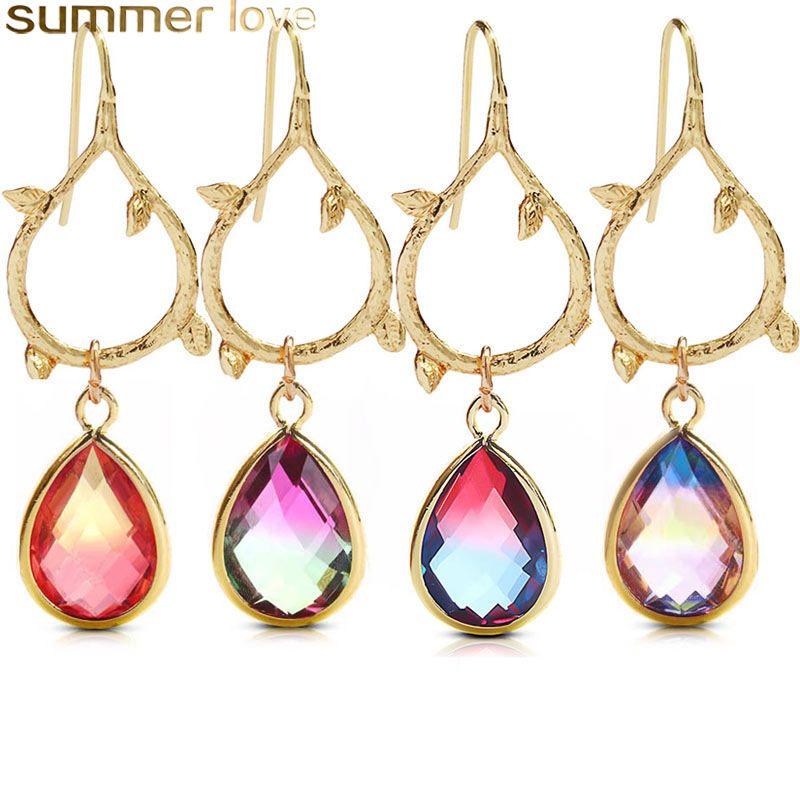 b955b71a3 2019 Vintage Rainbow Crystal Earrings For Women Water Drop Birthstone Gold  Leaf Teardrop Earring 2019 Fashion Jewelry Best Gifts From Oneng02, ...