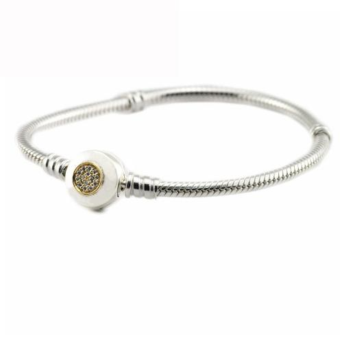 d11d7a5ba Authentic 925 Sterling Silver Beads Moments Two Tone Bracelet With P  Signature Clasp Fits European Pandora Style Jewelry Charms Charmed Bracelets  Friendship ...