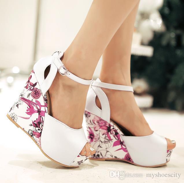ViVi Lena sweet floral prints patchwork pweep toe shoes women platform wedges heels sandals pink blue white size 34 to 40