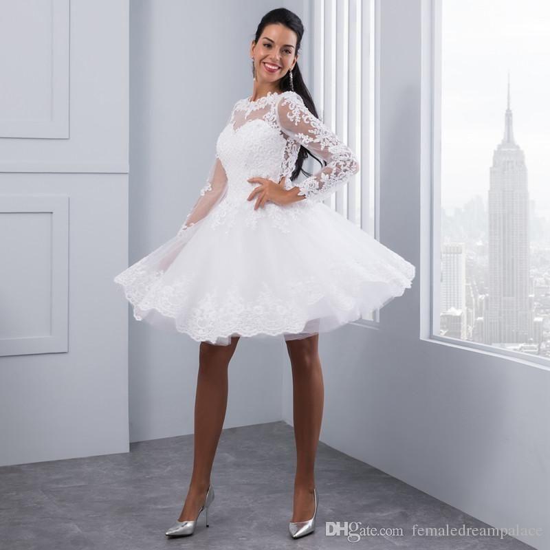Clearance Wedding Dresses.Clearance Sale Beach Short Wedding Dresses 2018 Long Sleeve Robe De Mariage Simple Knee Length Bridal Dresses Elegant Women Wedding Gowns
