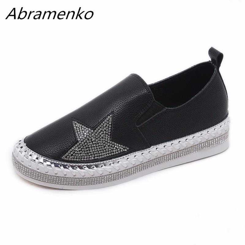 3bbe61935868 Abramenko Shoes For Woman Leather Flats Loafers Slip On Low Heel Soft Sole  Embroider Rhinestones Bling Female Black Shoes Size 8 Sneakers Shoes Geox  Shoes ...