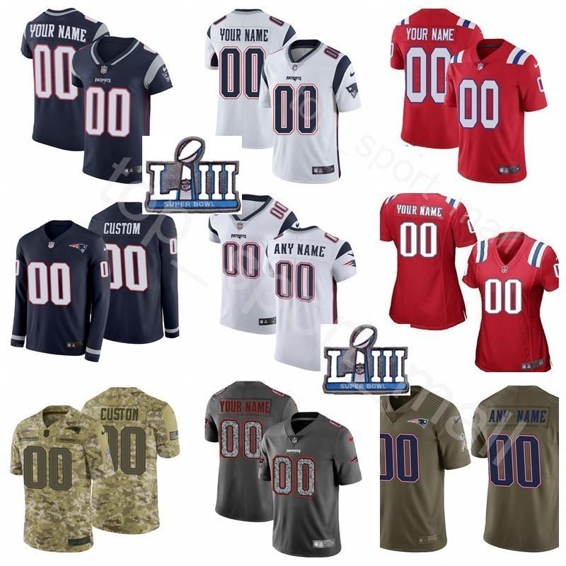 factory authentic 0a117 cd288 Super Bowl Patch Custom Patriots Jerseys Football 28 James White 34 REX  BURKHEAD 98 TREY FLOWERS 52 ELANDON ROBERTS 53 Van Noy MEN KIDS LADY