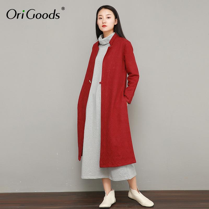 3bab6dd5f9 Acheter OriGoods Style Chinois Long Trench Coat Femmes Coton Lin Vintage  Manteau Longue Veste 2019 Printemps Nouveau Outwear Mode Femme F044 De  $82.62 Du ...