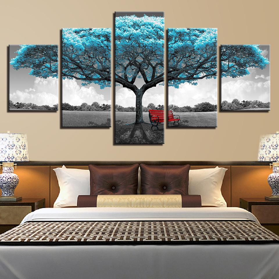 2019 Modular Poster Living Room Pictures Home Decor 5 Panel Blue