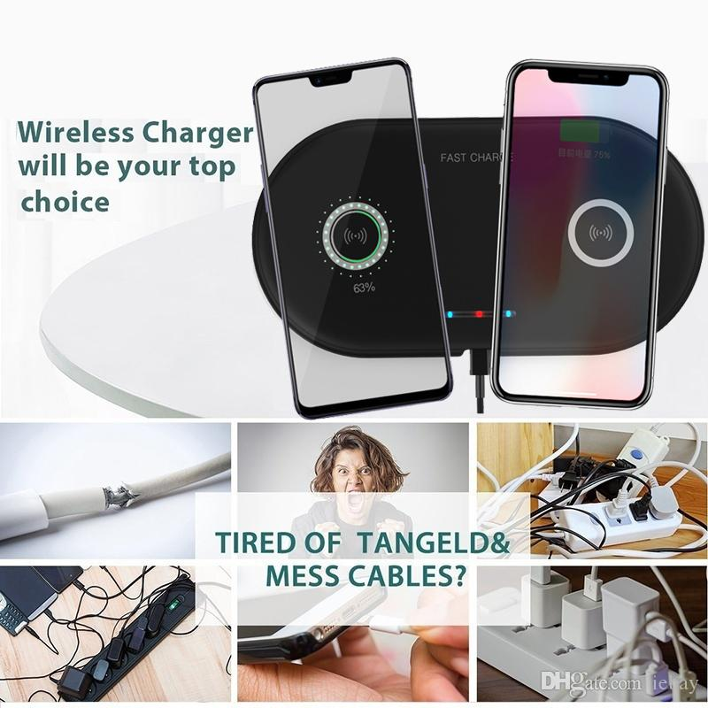 New Hot Dual Wireless Charger QI Phone Charger for Samsung S6 S7 Edge S8 S9 Plus Note 9 Fast Charging for iPhone X 8 8 Plus XS XS MAX XR