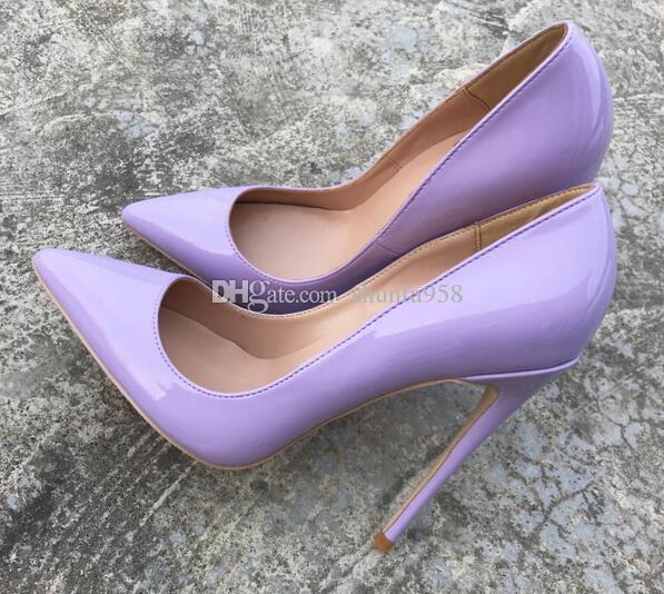 3aba68d65bf New Spring Autumn Fashion Light Purple High-heel Shoes Patent Shiny Leather  thin heel Women Shoes Pointed Sexy Dress Shoes size 33-44