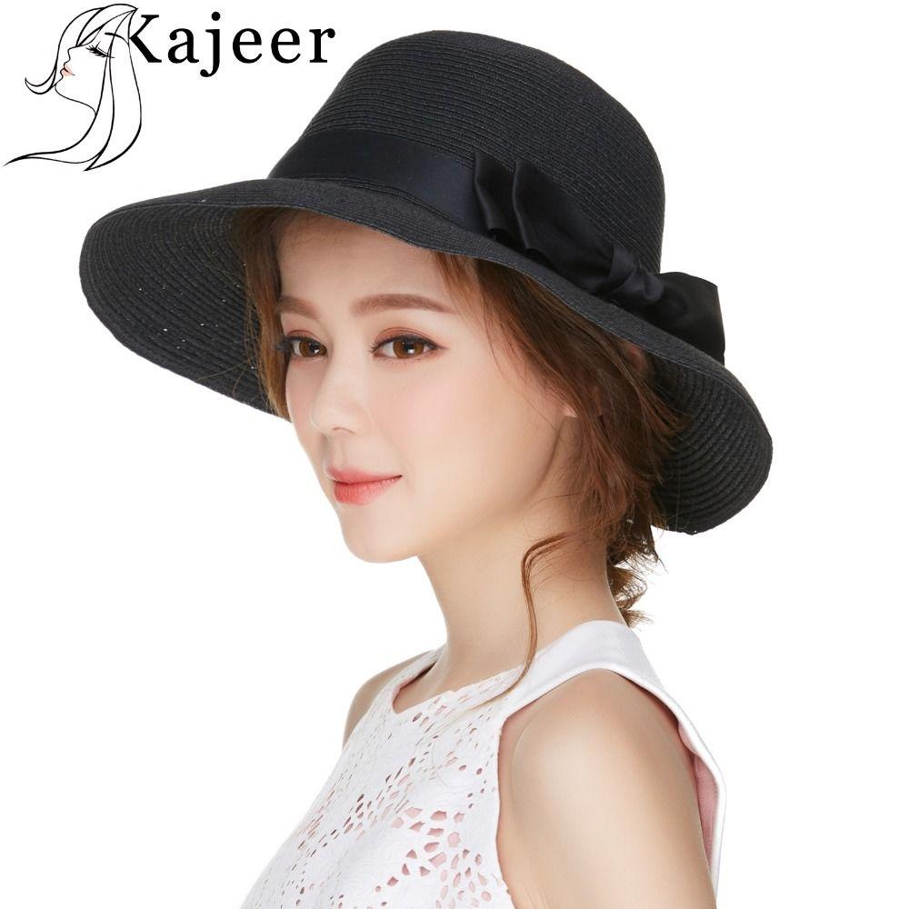 992ef18458e45 2019 Kajeer Fedora Hats For Women Paper Straw Ribbon Bow Accent ...