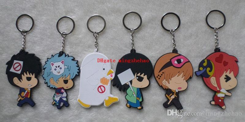 20pcs/lot Anime GINTAMA Cell Phone keychain fashion novelty funny silicona pendant Jewelry Accessory Chaveiro kid toy
