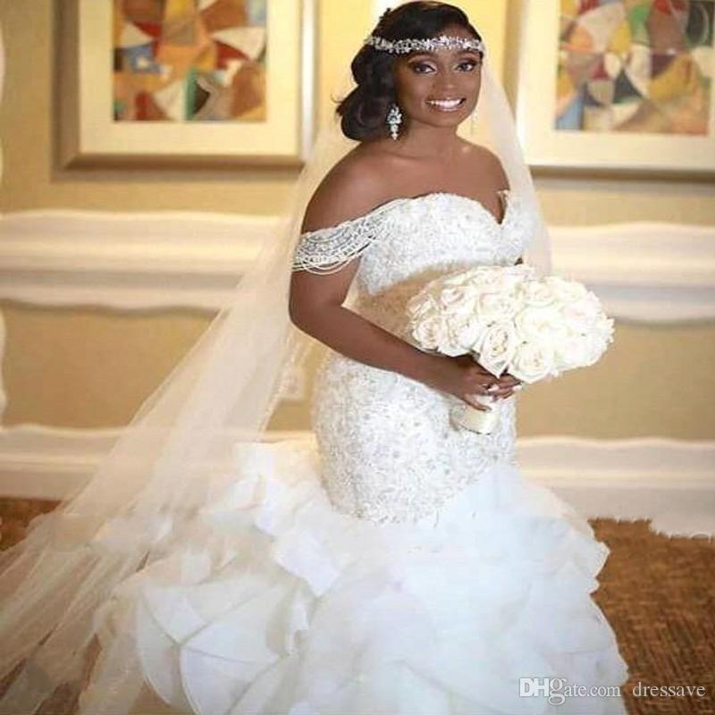 Elegant African Mermaid Wedding Dresses 2019 Ruffles Off The Shoulder Pearls Lace up Back Bridal Gowns