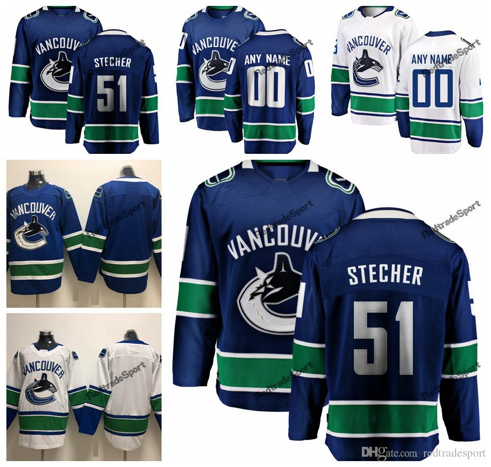 7ca0eb3d53b 2019 2019 Troy Stecher Vancouver Canucks Hockey Jerseys Mens Cheap Custom  Name Home Blue  51 Troy Stecher Stitched Hockey Shirt S XXXL From  Redtradesport
