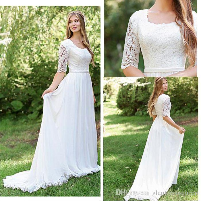 543e5c3cb0 Half Sleeves Wedding Dress Floor Length Lace Bride Dress White Ivory ...