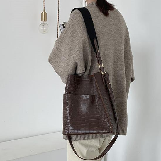 3d162a6ae312 Vintage Alligator Bucket Shoulder Bag Women Purses And Handbags PU ...