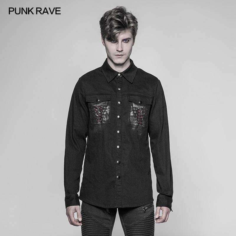 57c8560be18 Punk Rave Mens Gothic Shirts Fashion Cowboy Long Sleeve Turn-down Collar  Personality Motocycle Streetwear Blouse