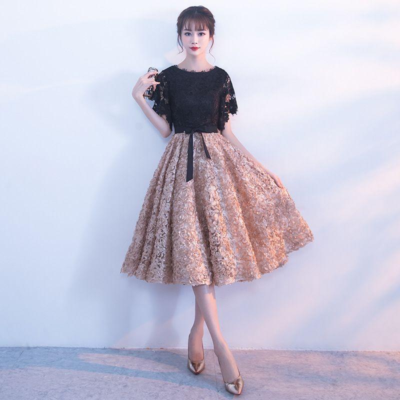 fcd50773522d0 Satın Al Ucuz Abiye Modelleri 2019 Jewel Boyun Çiçek Dantel Balo Elbise A  Hattı Kısa Mini Parti Homecoming Elbise, $62.14 | DHgate.Com'da