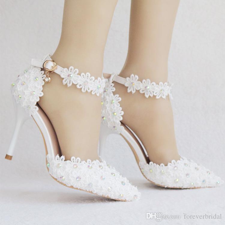 White Wedding Shoes Fashion Designer Heels Elegant Lady