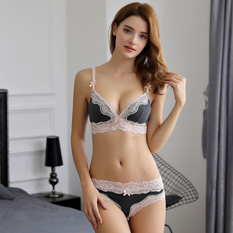 bb2ef35657c4 2019 Women Cotton Lace Bra Panties Set Fashion Sexy Wire Free Bras ...