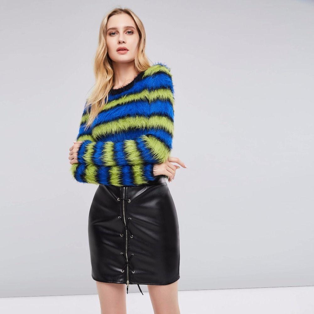 f299be34203 2019 Women Girls Vintage Blue Green Striped Loose Sweater Office Lady  Spring Autumn Winter Plus Size Retro Plush Knitwear C19041501 From  Shen8407