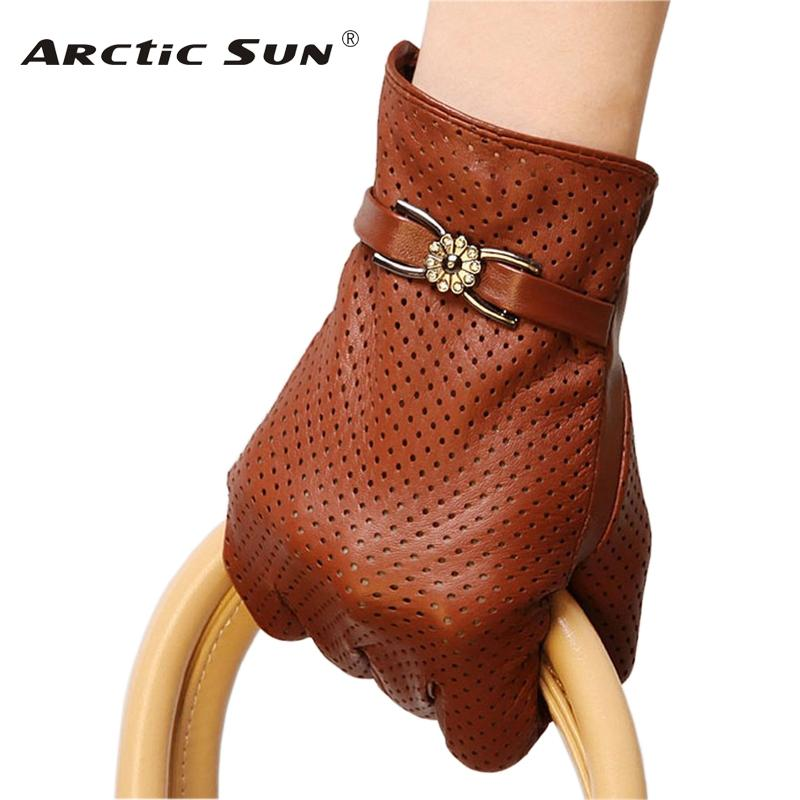 Brand Genuine Leather Gloves Spring Autumn Thin Fashion Trend Women Sheepskin Gloves Finger Driving Glove L093NN