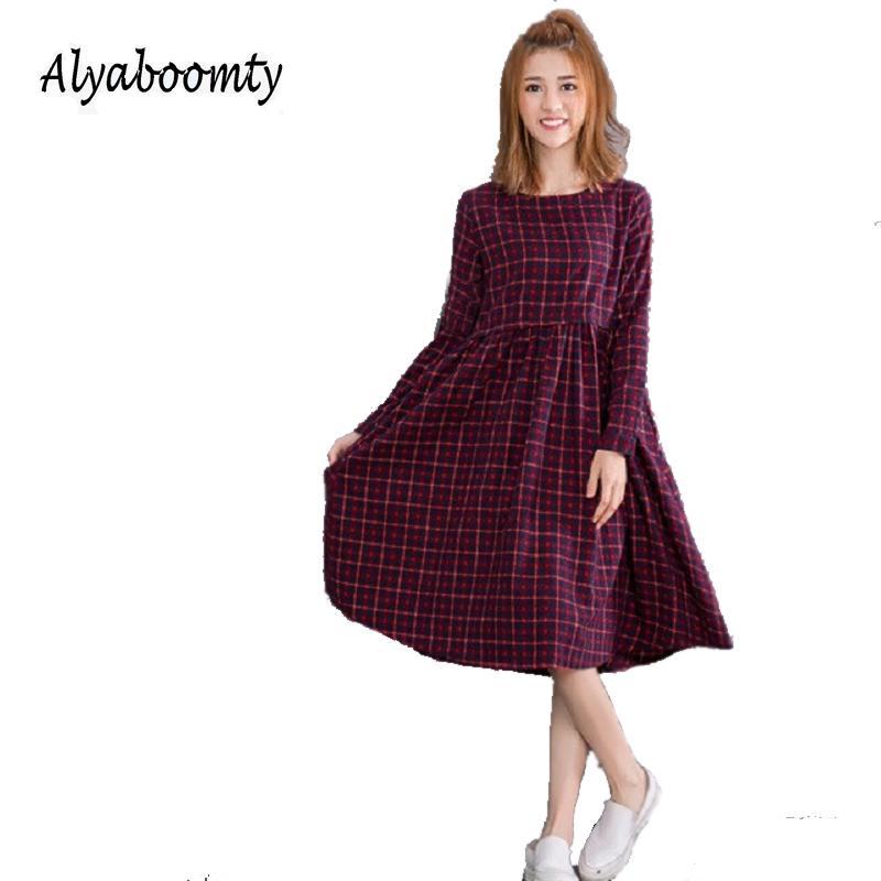 620c3d814c Compre 2019 Vintage Primavera Otoño Mujeres Midi Dress Moda O Cuello A  Cuadros Vestidos Mujer Manga Larga Retro Algodón Lino Dress M L Xl 2xl  Y19012201 A ...