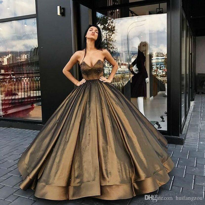 eddbd56eea5 2019 Arabic Prom Dresses Evening Wear Gold Sweetheart Beaded Satin Floor Length  Puffy Ball Gown Zipper Back Custom Special Party Dresses Shoes For Prom ...