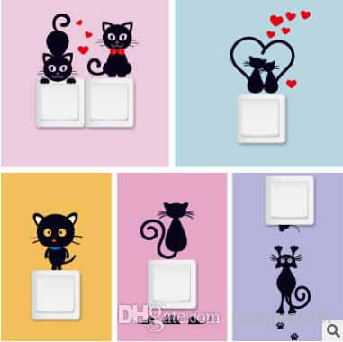 switch wall sticker black cat cartoon stickers creative removable