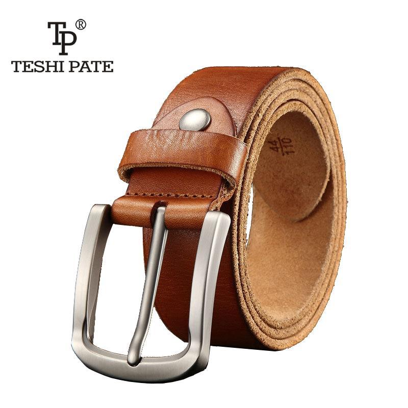 50db48ae341 Compre Cinturón De Diseño Para Hombres De Alta Calidad De Lujo 100% Cuero  De Vaca Cuero Genuino Grano Vintage Hebilla De Grano Lleno Cuero De Vaca  Venta ...