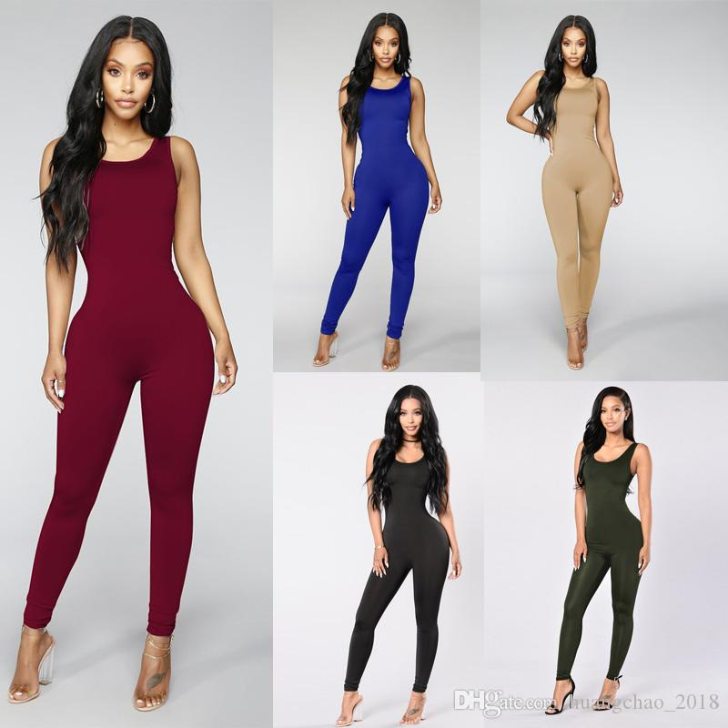 b520186a118 2019 Jumpsuits For Women 2018 Sexy Bodycon Exercise Sport Top Running Wear  Backless Black Summer Jumpsuit Plus Size Women Clothes From Huangchao 2018