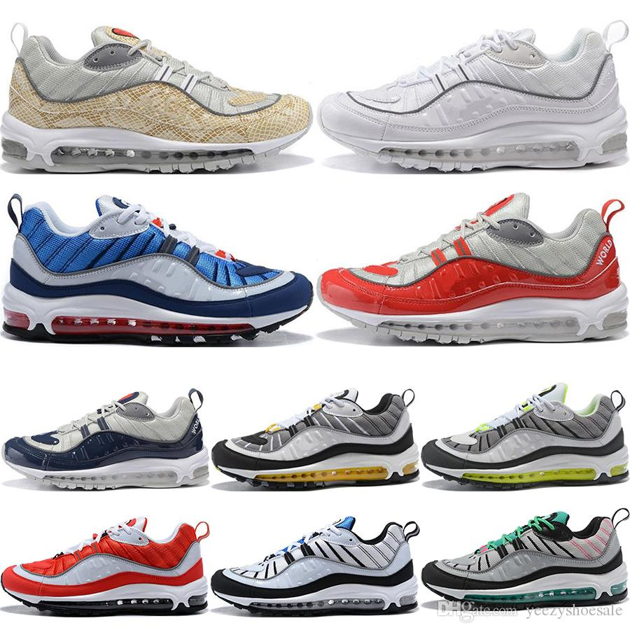 super popular 25f00 3f4a9 2019 New 98 Camo Cone Mens Running Shoes For Men 98s White Red Navy  Fluorescent Green Athletic Sports Designer Sneakers 40-46
