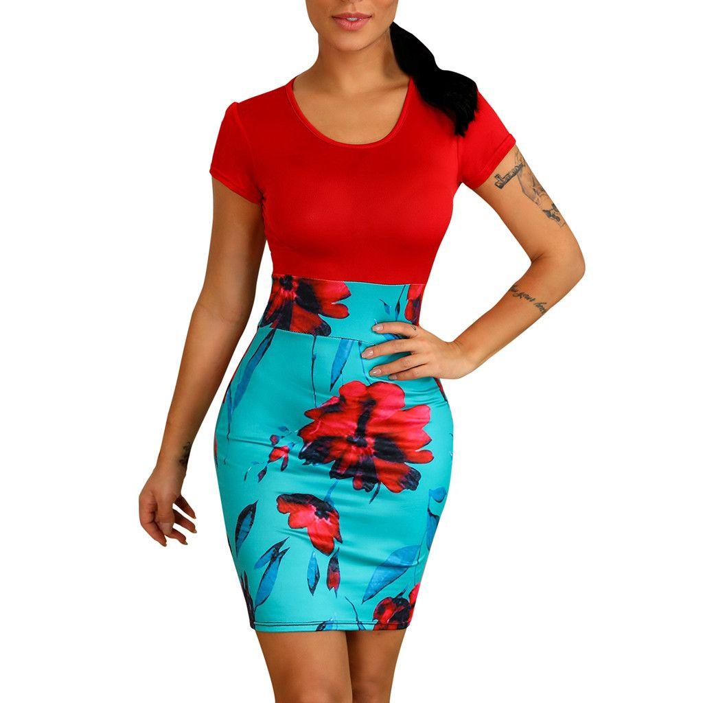 aa7fbc8a26289 Women Dresses Summer 2019 Women Floral Print O-Neck Short Sleeve Dress  Insert Bodycon Party Mini Dress Vestidos Free Shipping