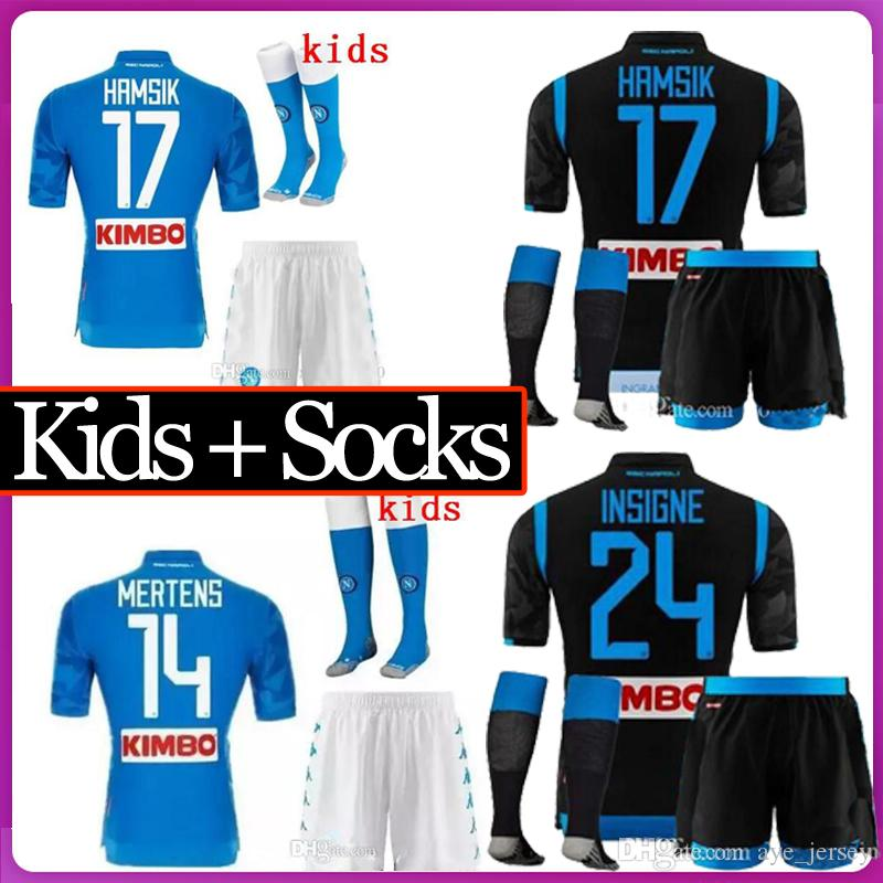 c67b7e929 2019 Kids Kit With Socks 18 19 Napoli Soccer Jersey Home 2018 2019 Naples  ZIELINSKI HAMSIK INSIGNE MERTENS CALLEJON PLAYER ROG Football Shirts From  ...