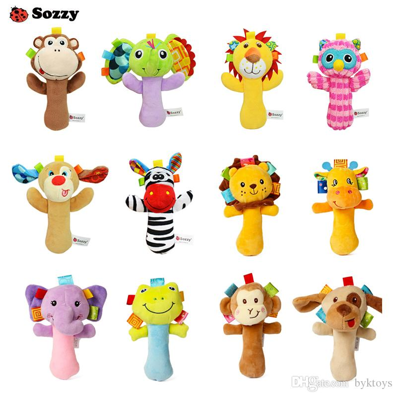12 Styles Sozzy Lovely Plush Stuffed Animal Baby Rattle Squeaky Sticks Toys Hand Bells for Children Newborn Gift